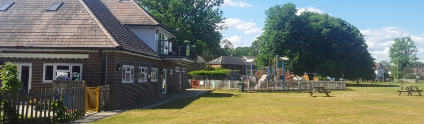 The Pavilion and play area at the Thursley Road recreation ground.