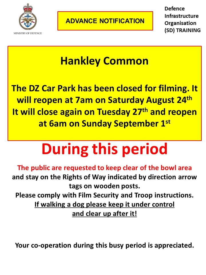 Hankley Common Car Park closures