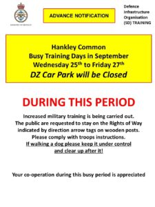 Hankley Common DZ Car Park Closed Wednesday 25th to Friday 27th September