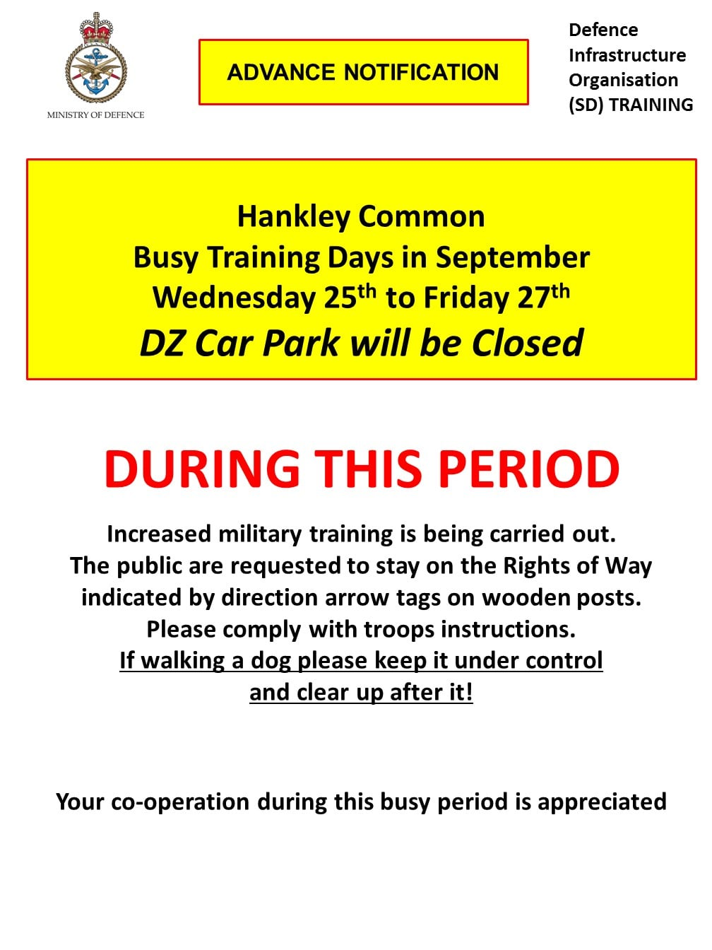 Read more about the article Hankley Common DZ Car Park Closed Wednesday 25th to Friday 27th September