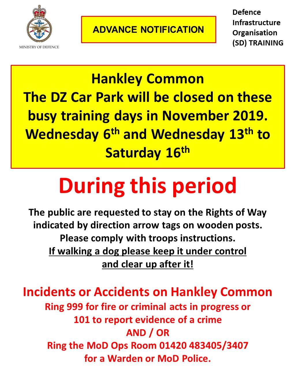 Hankley Common Car Park November Closure Dates