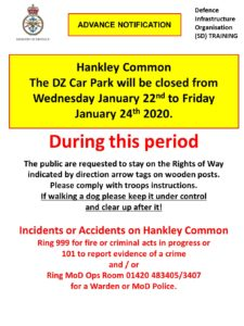 Hankley Common DZ Car Park closed Wednesday 22nd to Friday 24th January 2020