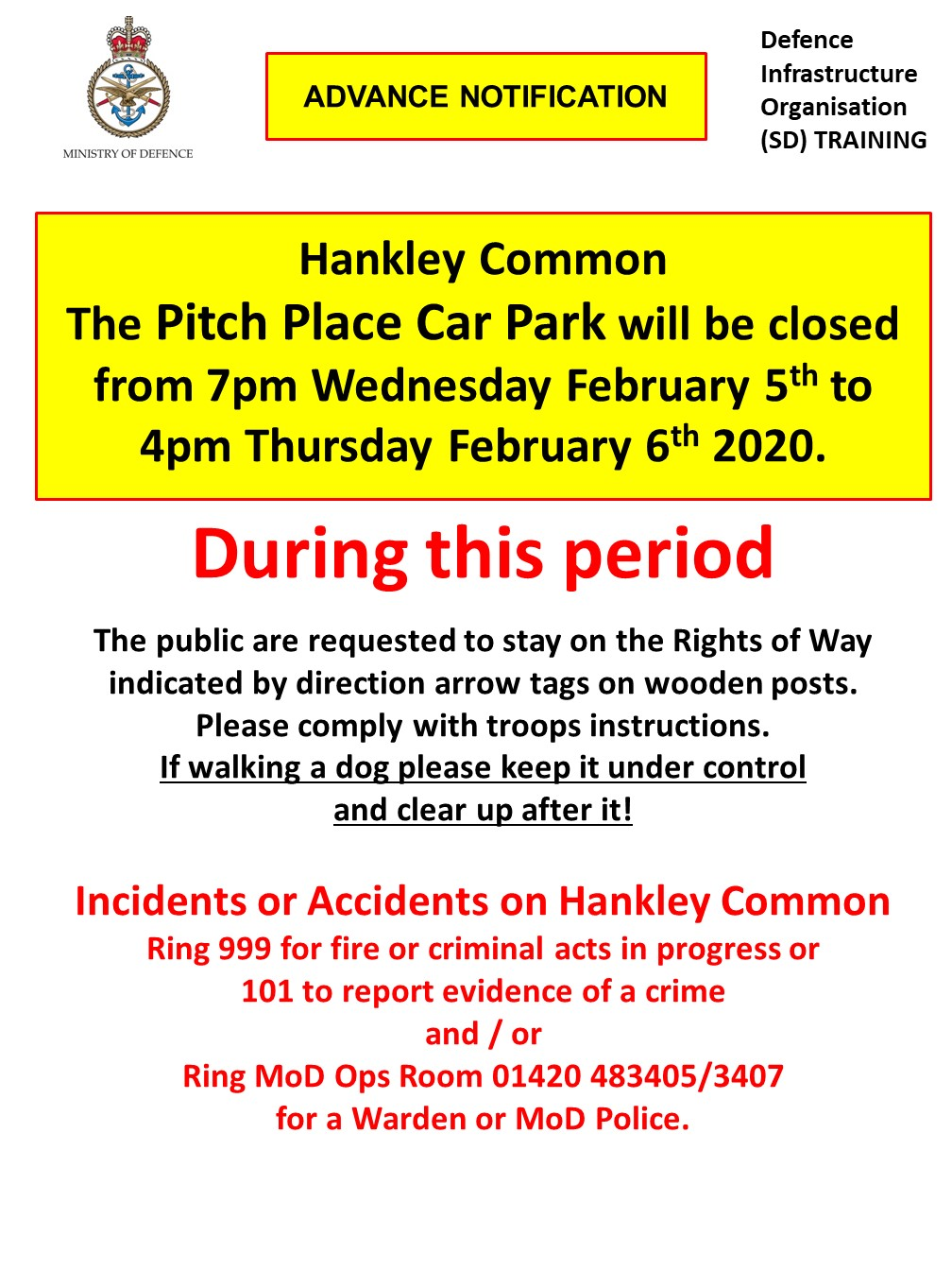 Pitch Place Car Park closed 7pm Wed 5th – 4pm Thurs 6th Feb