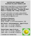 Easter 2020 Tennis Camps @ Elstead Village Tennis Club