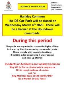 Hankley Common – DZ Car Park Closed on Wednesday 4th March