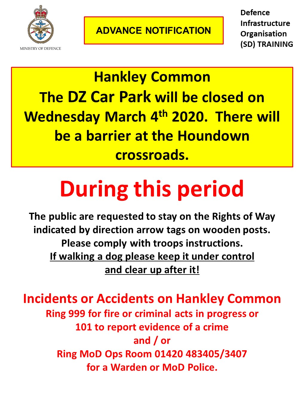 Read more about the article Hankley Common – DZ Car Park Closed on Wednesday 4th March