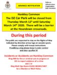 Hankley Common Car Park Closure – 12th – 14th March 2020