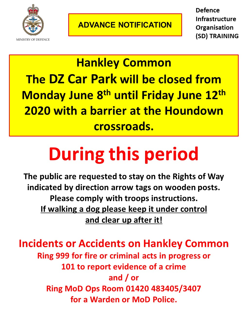 Read more about the article Hankley Common DZ Car Park closed Monday 8th June to Friday 12th June 2020