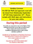 Hankley Common DZ Car Park closed Wednesday 23rd – Friday 25th September