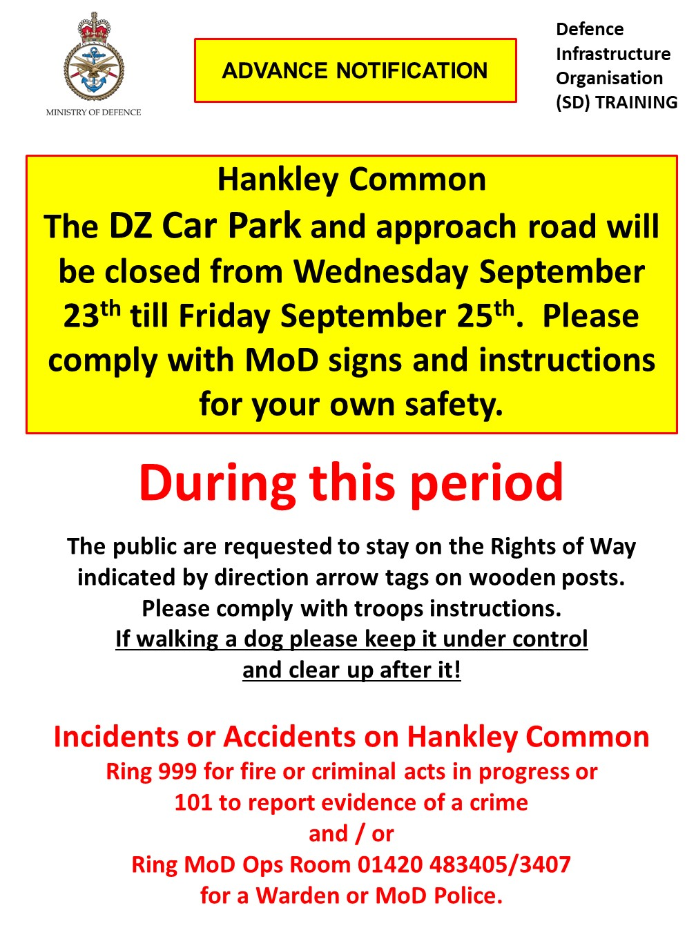 Read more about the article Hankley Common DZ Car Park closed Wednesday 23rd – Friday 25th September