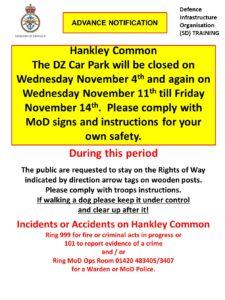 Hankley Common Car Park Closure Dates – November 2020