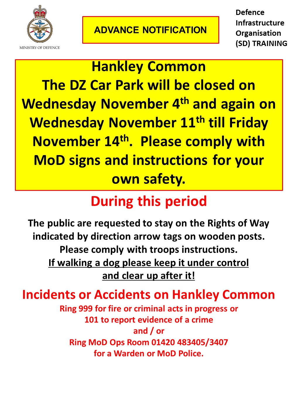 Hankley Common Car Park Closure Dates – November 2020