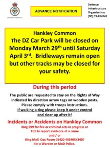 Read more about the article Hankley Common Car Park closed Monday 29th March – Saturday 3rd April