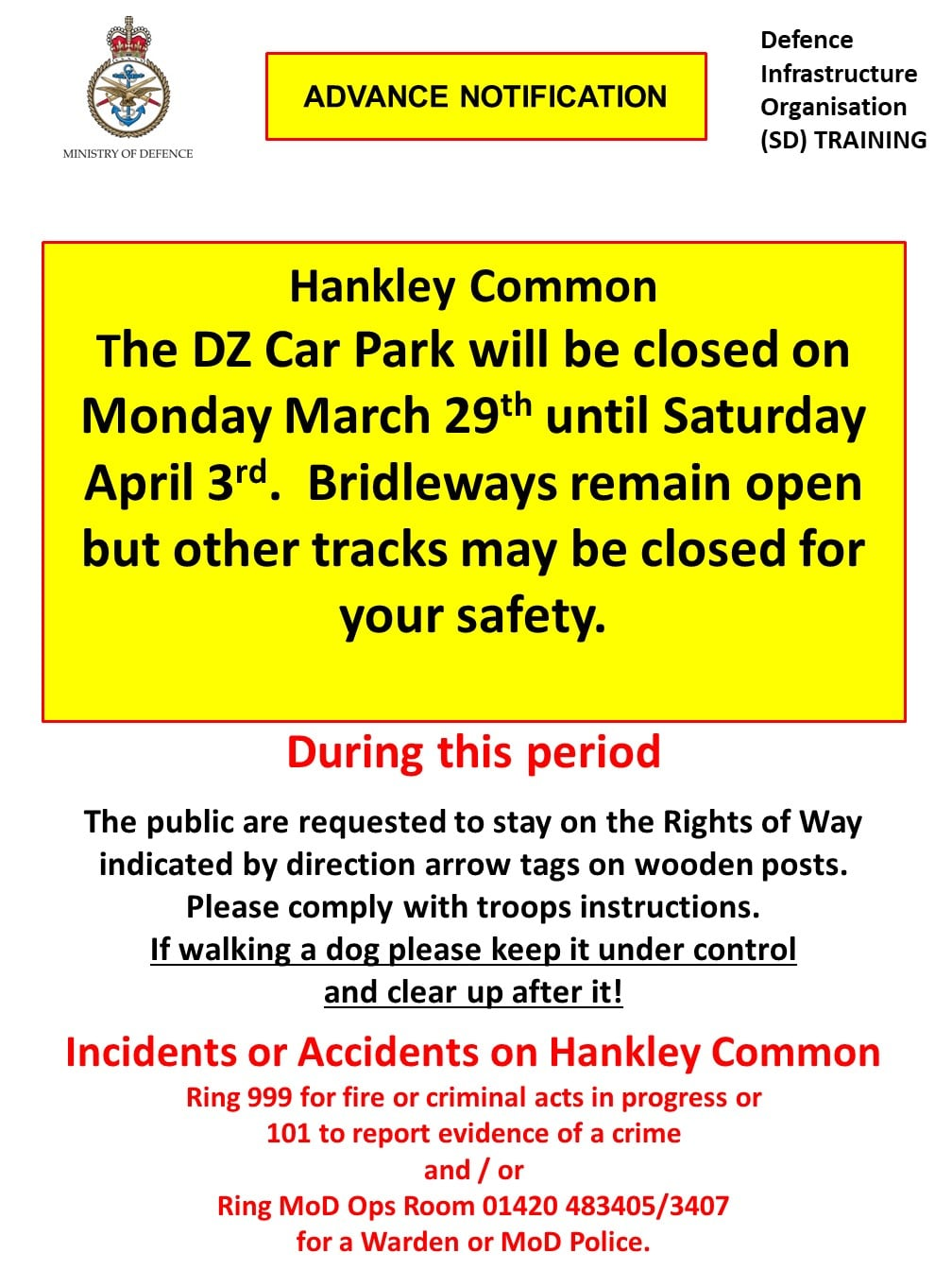 Hankley Common Car Park closed Monday 29th March – Saturday 3rd April