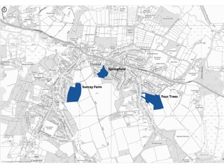 Map showing sites of new proposed housing developments