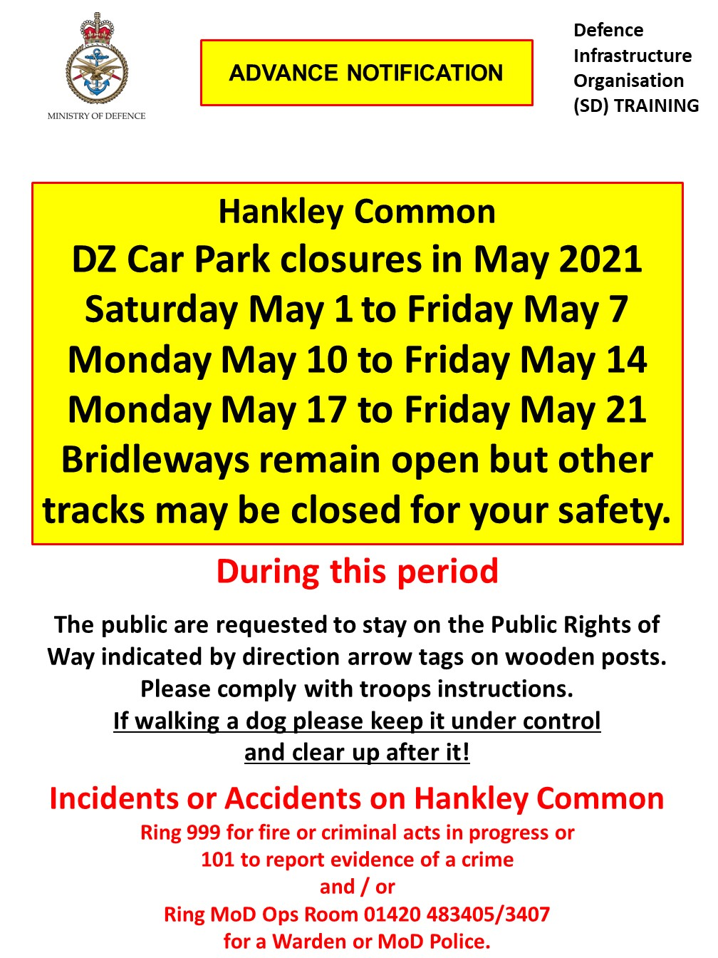 Hankley Common Car Park – May closure dates