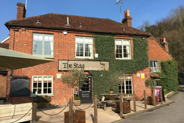The outside of the Stag on the River Pub at Eashing on a sunny day. There is outside seating, an umbrella and planters with Olive Trees.