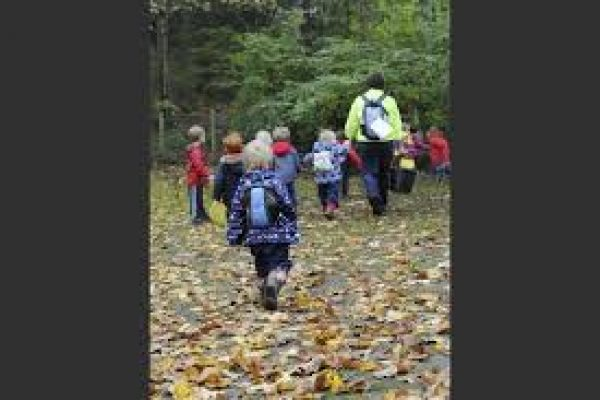 Children with coats and rucksacks walk with a nursery worked through the leaves into the woods.