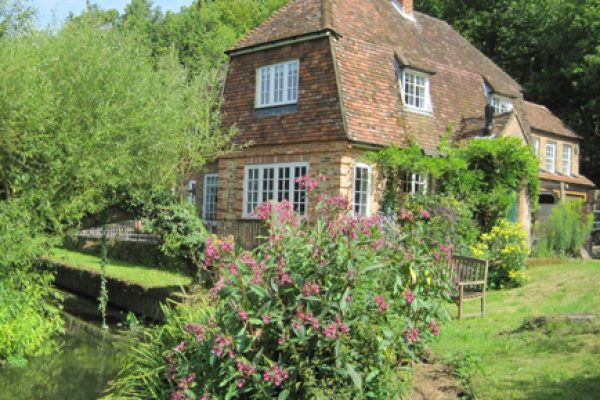 Tilford Mill Cottage and gardens with attractive pink flowers and a pond.